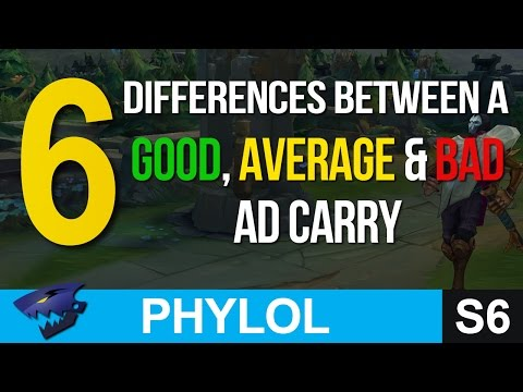 6 differences between a GOOD, AVERAGE & BAD AD CARRY - League of Legends