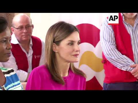 Spain's Queen Letizia visits children in Haiti