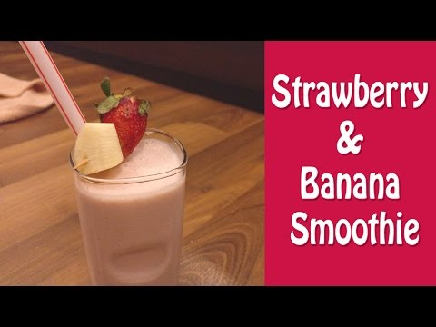 Strawberry Banana Smoothie - How to make smoothie in 1 min | valentine's day recipes