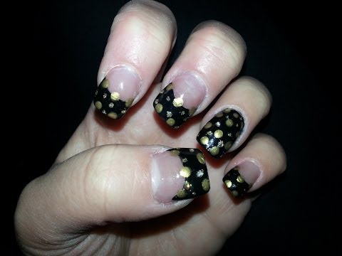 black & gold polka dot nail art tutorial