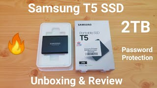 Samsung T5 Portable SSD 2TB Unboxing & Review, Password Protection, Mobile Support, Speed Test