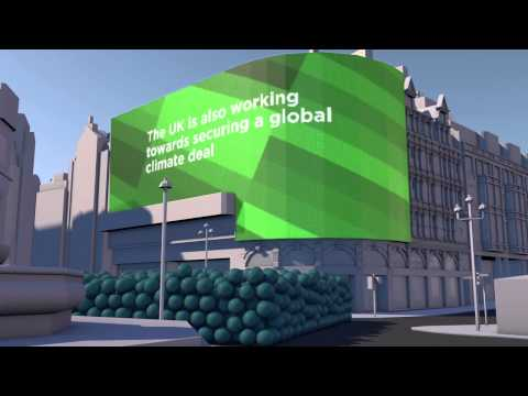 Animation showing the UK's greenhouse gas emissions reduction target using to scale carbon spheres.