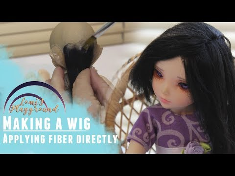 Making an alpaca BJD wig through direct fiber application