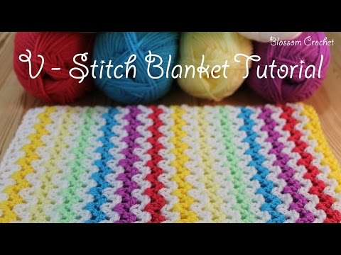 SUPER easy Crochet V Stitch Blanket/Scarf