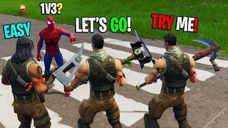 Download Spiderman challenges 3 noobs to a 1v3 in Playground! (INSANE BUILD BATTLES) Video