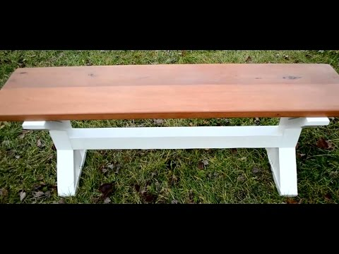 How to Build a Mahoganny Farmhouse Pedestal Style Bench // DIY