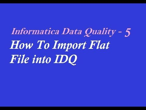 IDQ 5 : How To Import Flat File into Informatica Data Quality