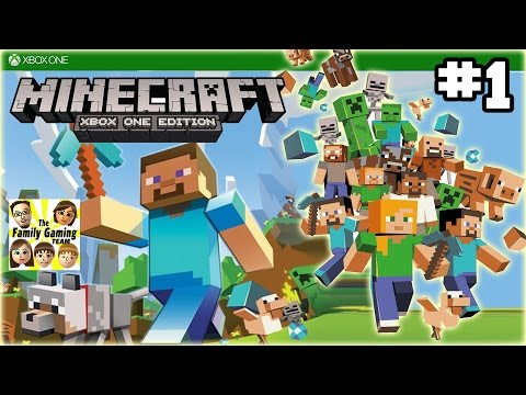Dad & Kids play MINECRAFT XBOX ONE:  Scaredy Cats, go Outside!  (#1)