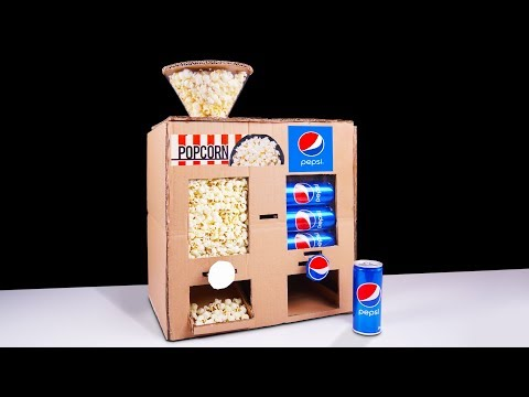 DIY How to Make Popcorn and Pepsi Vending Machine from Cardboard