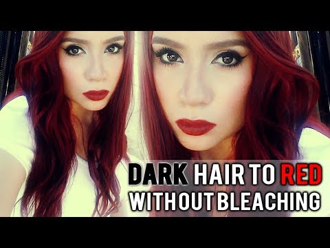 DARK DYED (AND VIRGIN) HAIR TO RED HAIR WITHOUT BLEACH