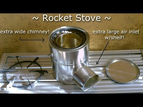 Homemade STEEL CAN Rocket Stove w/shelf! - Improved!! (w/ex-large chimney and feed tube) Full Instr.
