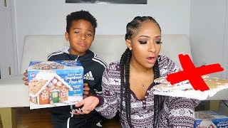 SISTER VS BROTHER GINGERBREAD HOUSE!!!  | VLOGMAS DAY 18