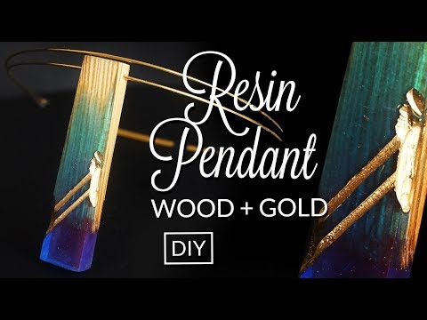 How to make Resin secret wood & gold pendant DIY