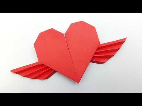 How to make a Paper Heart with wings | Origami winged heart instructions