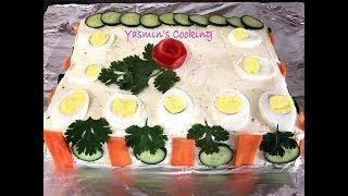 Chicken and Vegetable Sandwich Cake in Hindi/Urdu (English Subtitles)