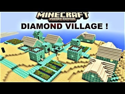 MCPE 1.0.0 - AWESOME DIAMOND VILLAGE ! ENTIRE VILLAGE IN DIAMOND MAP | MINECRAFT PE 1.0.0