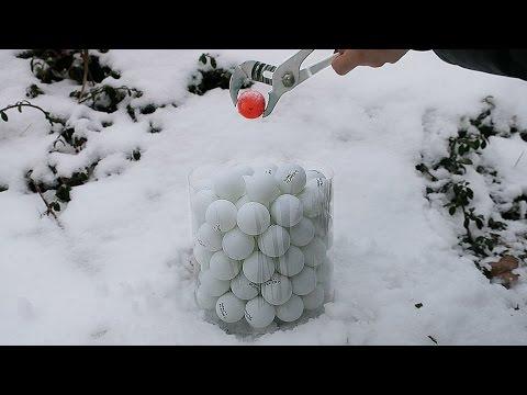 Glowing 1000 Degree Metal Ball VS 100 Ping Pong Balls!