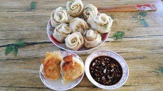 吃腻了蒸饺?教你煎神奇的玫瑰花形饺子,端上餐桌朋友抢着吃||胖嫂show