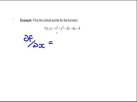 Partial Derivatives  - Critical Points