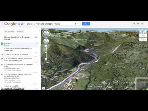 Briançon to Grenoble Google Directions 3D helicopter view