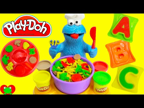 Sesame Street Play Doh Cookie Monster LEARN the Alphabets Soup Playset