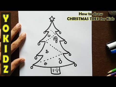 How to draw CHRISTMAS TREE for kids