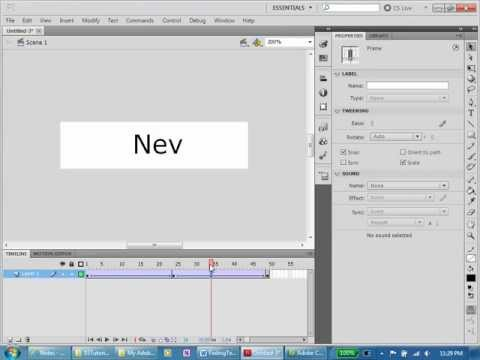 Flash Tutorial 3 Create a loop of your name fading in and out