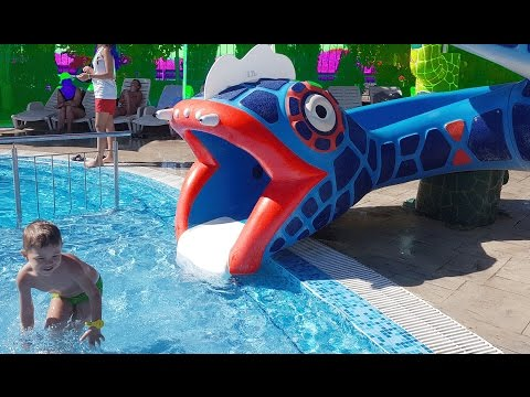 Water park for kids with snake slider.  HD VIDEO