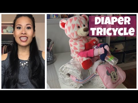 BABY SHOWER GIFT IDEAS (Diaper Cake & Diaper Tricycle) | DIYwithHan