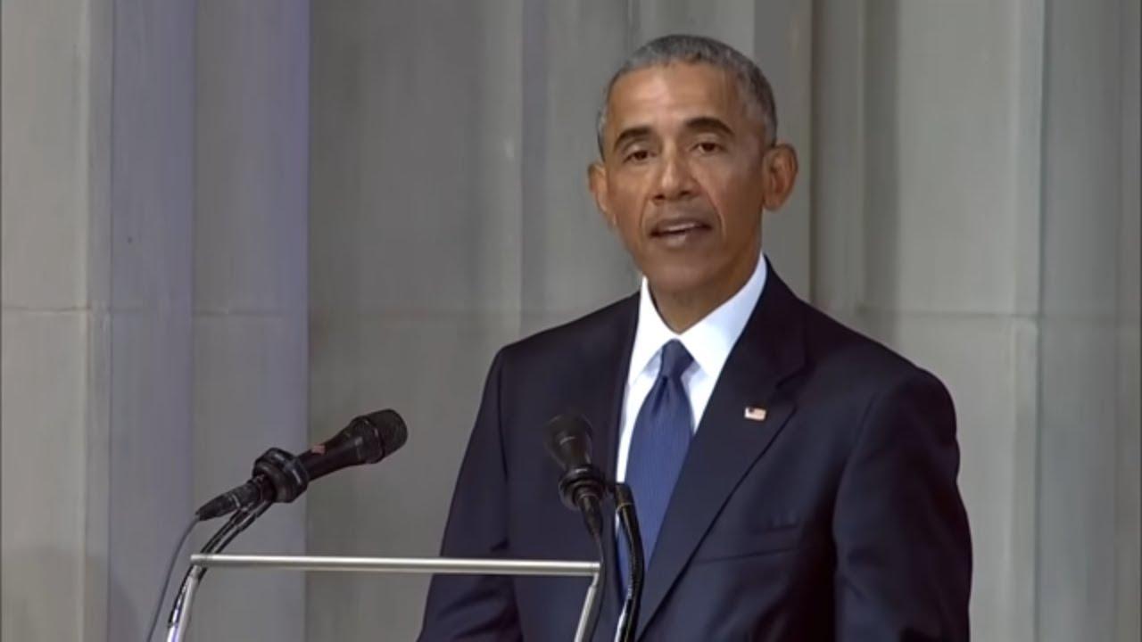President Barack Obama speaks at John McCain's funeral