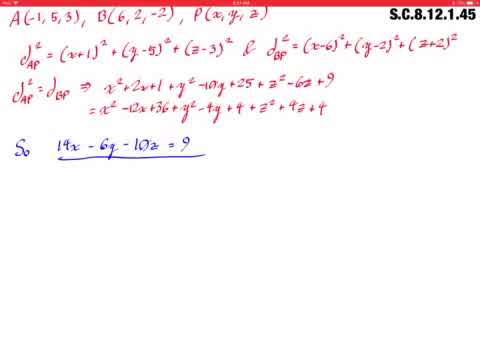 Find an equation of the set of all points equidistant from the points As21, 5, 3d and Bs6, 2, 22d.