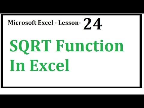 Excel   SQRT Function In Excel  Hindi  Urdu   Lesson 24