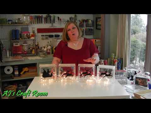 Lighted Glass Blocks with Vinyl - AJ's Craft Room  (Holiday Craft Ideas)