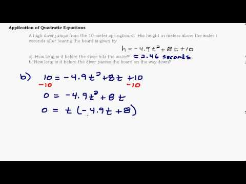 Application of Quadratic Equations - Modeling and Graphs