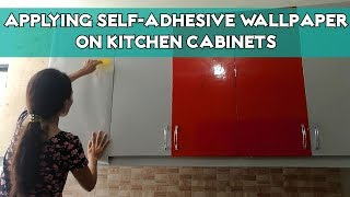 Applying Glossy Self-Adhesive Wallpaper on Kitchen Cabinets