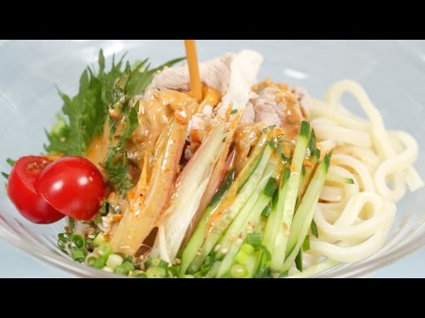 Summer Pork Udon with Sesame Sauce (Cold Noodles Recipe) | Cooking with Dog