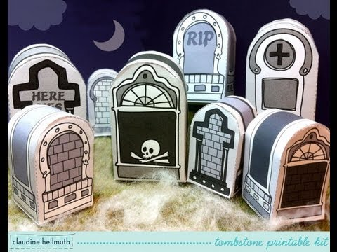 make a paper tombstone candy box and favor box printable kit for halloween