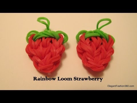 How to make Loom Bands Strawberry charm on rainbow loom