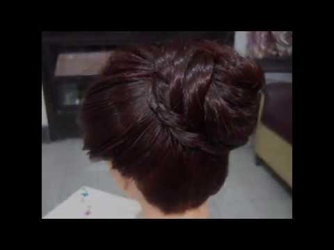 A Classic Plated Bun Hairstyle.
