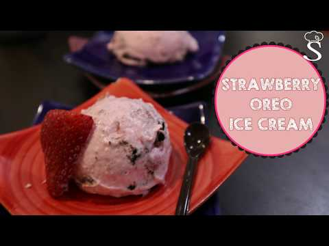 Strawberry Oreo Ice Cream Recipe | How To Make Strawberry Ice Cream at home by Shree's Recipes