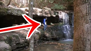River Treasure! Metal Detecting Behind WATERFALL For Lost Jewelry! Halloween Special Upload 👻