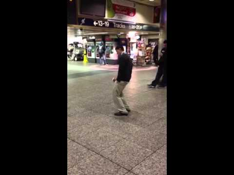 Guy sleeping while standing up!