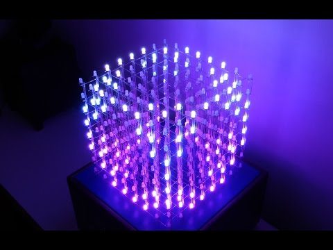 3D 8x8x8 RGB LED Cube - DEMO and BUILD [extended version]