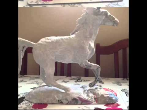 Paper mâché horse sculpture
