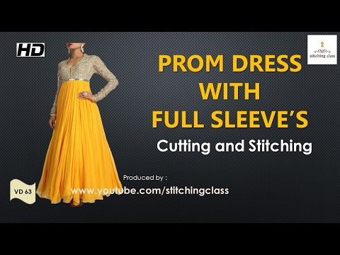 Prom Dress with Full Sleeves Cutting and Stitching