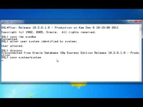Reset password User System the Oracle XE