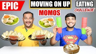 EPIC MOVING ON UP MOMOS EATING CHALLENGE | Spicy Momos Eating Competition | Food Challenge