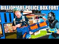 BILLIONAIRE Box Fort Police STATION NERF Stopping Crime 24 Hour Box Fort City Challenge