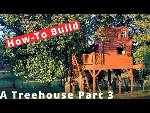 Building a Treehouse  -  Part 3 Cedar siding and roof installation