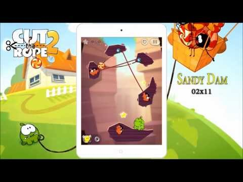 Cut the Rope 2 Sandy Dam 2-11, 3 Stars + Medal mission Walkthrough